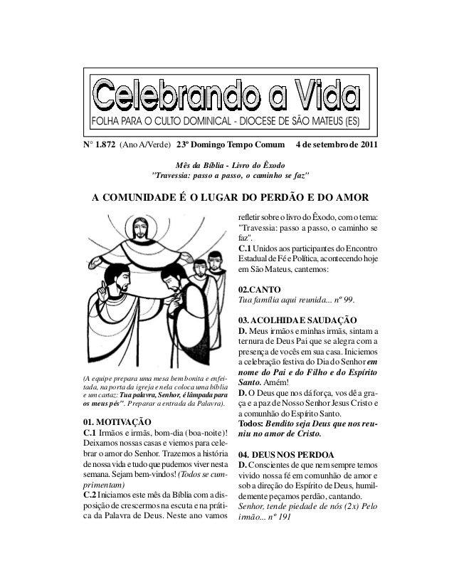 N° 1.872 (Ano A/Verde) 23º Domingo Tempo Comum                        4 de setembro de 2011                             Mê...