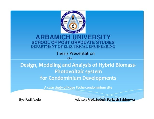 renewable energy thesis  renewable energy project for engineering student arbamich university school of post graduate studies thesis presentation on design modeling and
