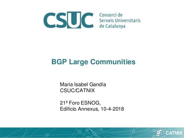 CATNIX BGP Large Communities Maria Isabel Gandía CSUC/CATNIX 21º Foro ESNOG, Edificio Annexus, 10-4-2018