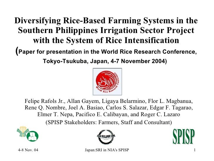 Diversifying Rice-Based Farming Systems in the Southern Philippines Irrigation Sector Project with the System of Rice Inte...