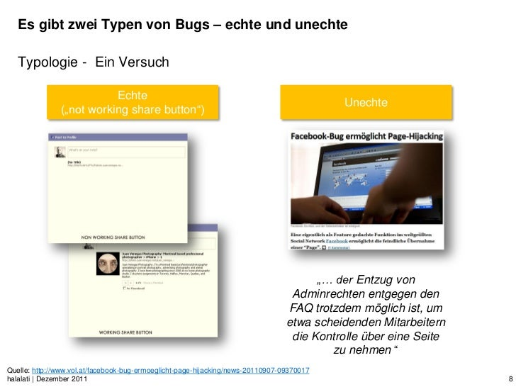 Es gibt zwei Typen von Bugs – echte und unechte   Typologie - Ein Versuch                          Echte                  ...