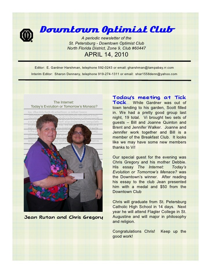 Downtown Optimist Club                                A periodic newsletter of the                         St. Petersburg ...