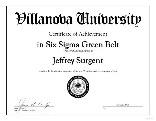 Villanova Six Sigma Green Belt Certificate