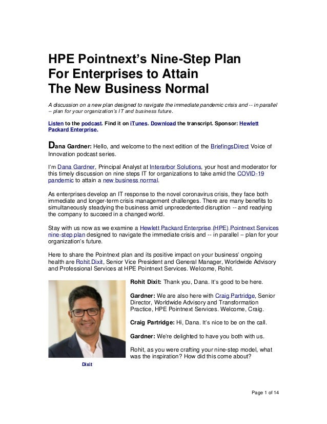 Page 1 of 14 HPE Pointnext's Nine-Step Plan For Enterprises to Attain The New Business Normal A discussion on a new plan d...
