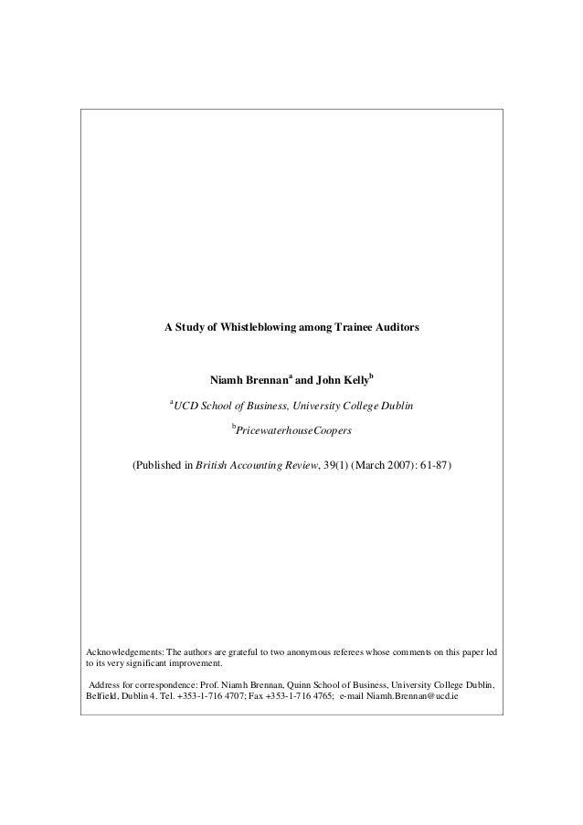 A Study of Whistleblowing among Trainee Auditors                               Niamh Brennana and John Kellyb             ...