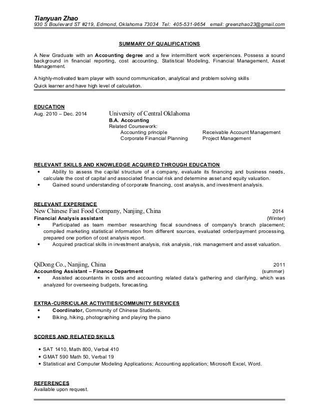 tianyuan zhao resume
