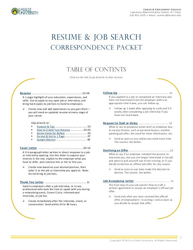 Resume U0026 Job Search Correspondence Packet. 1 CAREER U0026 EMPLOYMENT SERVICES  Lawrence Administration Center, 4 T H Floor 215.951.1075 ...  Send Resume To Jobs