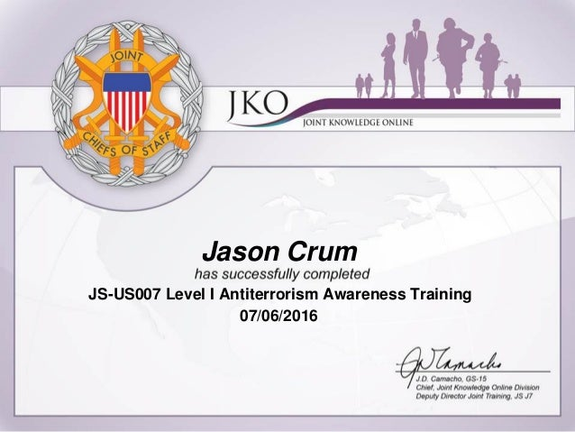 Jason Crum Level 1 Antiterrorism Certificate 2016