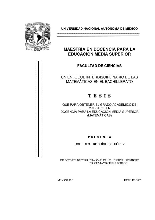 UNIVERSIDAD NACIONAL AUTÓNOMA DE MÉXICO MAESTRÍA EN DOCENCIA PARA LA EDUCACIÓN MEDIA SUPERIOR FACULTAD DE CIENCIAS UN ENFO...