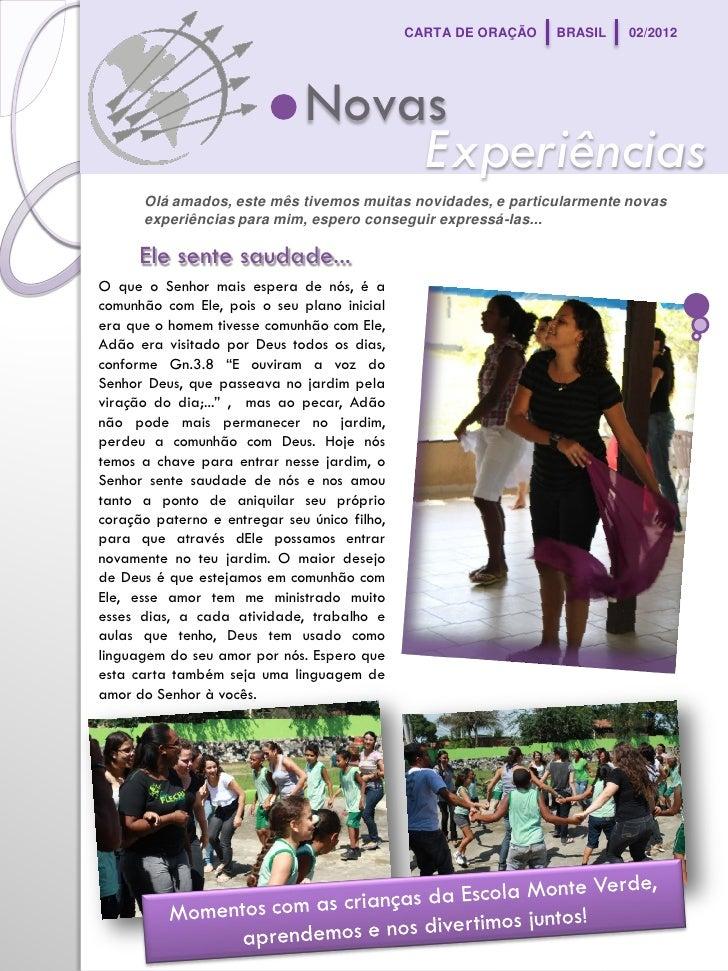 CARTA DE ORAÇÃO   BRASIL   02/2012                              Novas                                  Experiências      O...