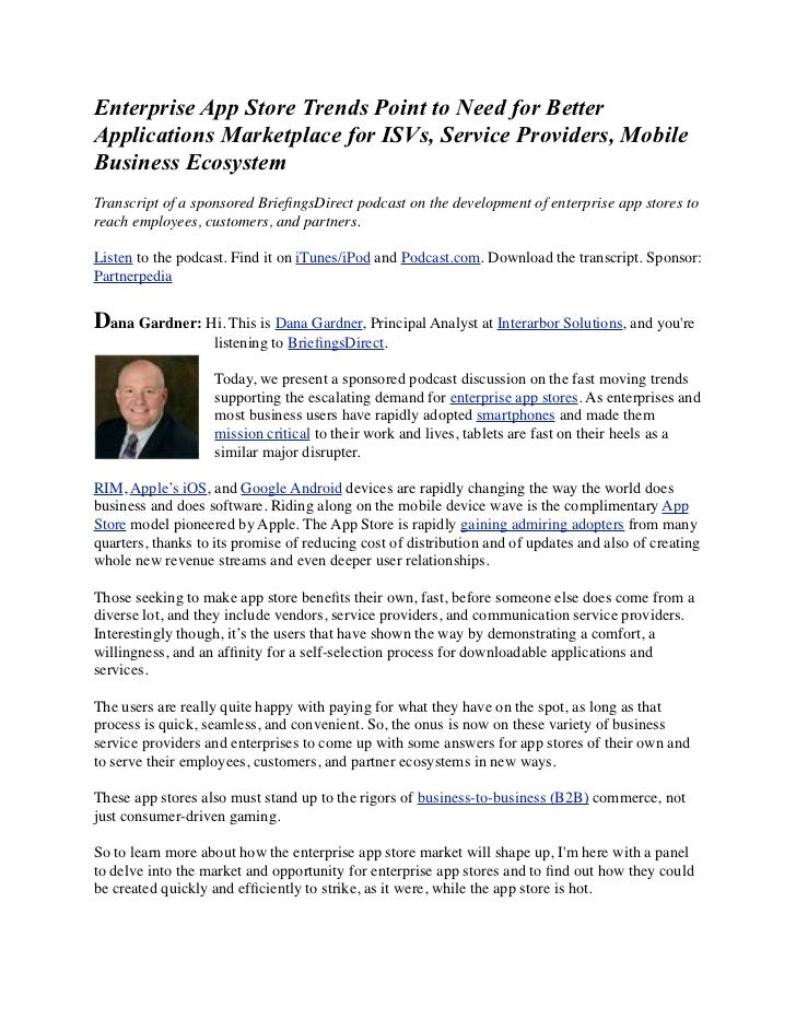 Enterprise App Store Trends Point to Need for BetterApplications Marketplace for ISVs, Service Providers, MobileBusiness E...