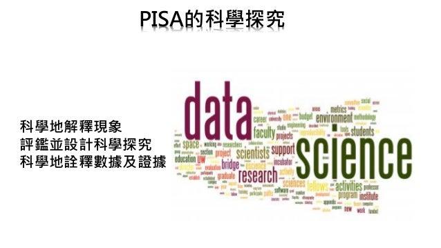 PISA的科學探究 科學地解釋現象 評鑑並設計科學探究 科學地詮釋數據及證據