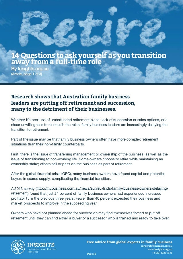 Putting Yourself Before Your Successor: How to Prepare Yourself for a Successful Family Business Transition