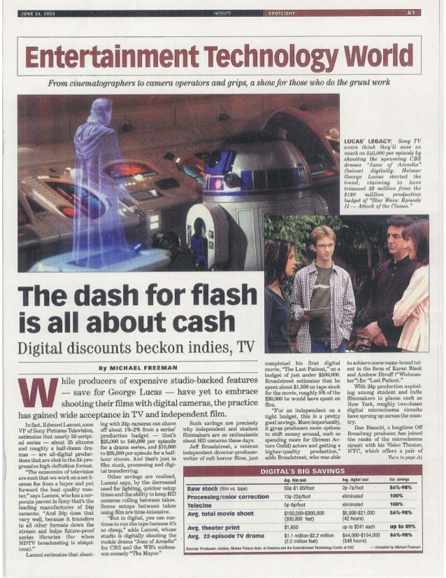 DAILY VARIETY Special Section Feature: High-Definition Digital Film & TV Production