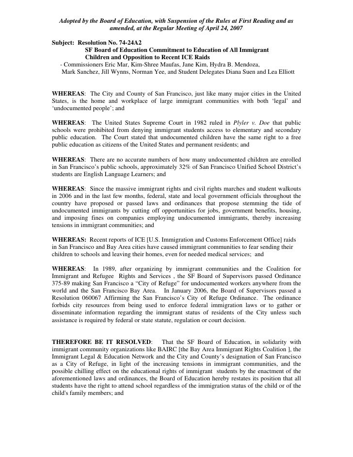 Adopted by the Board of Education, with Suspension of the Rules at First Reading and as                      amended, at t...
