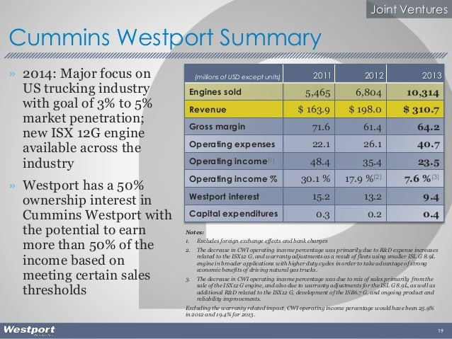 » 2014: Major focus on US trucking industry with goal of 3% to 5% market penetration; new ISX 12G engine available across ...