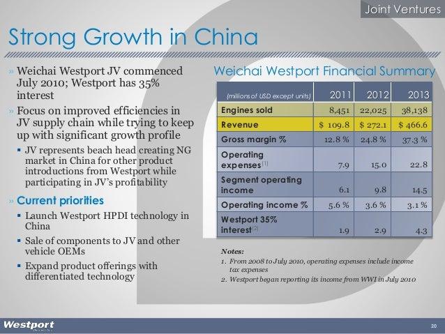 » Weichai Westport JV commenced July 2010; Westport has 35% interest » Focus on improved efficiencies in JV supply chain w...