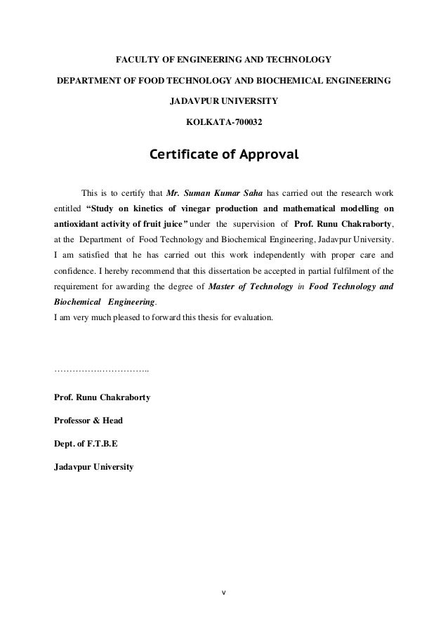 thesis certificate of approval