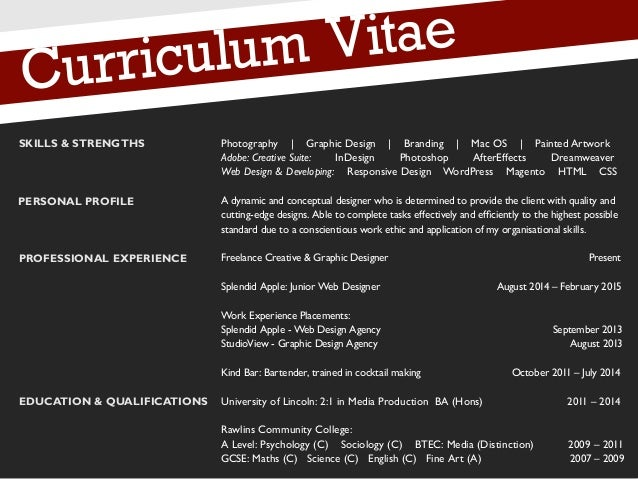 2 curriculum vitae personal profile professional experience education qualifications photography graphic design - Graphic Artist Profile