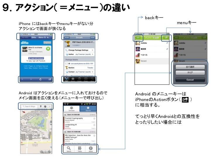 9.アクション(=メニュー)の違い                                    backキー  iPhone にはbackキーやmenuキーがない分                  menuキー  アクションで画面が...