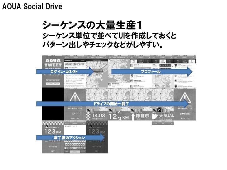 AQUA Social Drive           シーケンスの大量生産1           シーケンス単位で並べてUIを作成しておくと           パターン出しやチェックなどがしやすい。             ログイン・コネク...