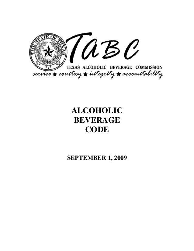 ALCOHOLIC BEVERAGE   CODESEPTEMBER 1, 2009