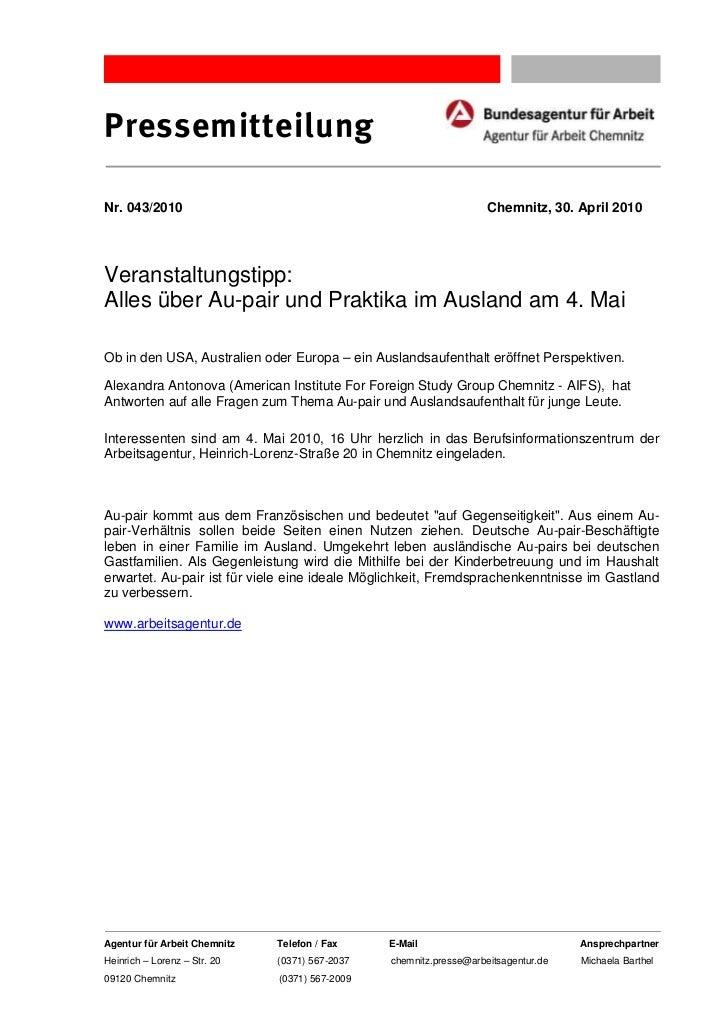 PressemitteilungNr. 043/2010                                                        Chemnitz, 30. April 2010Veranstaltungs...