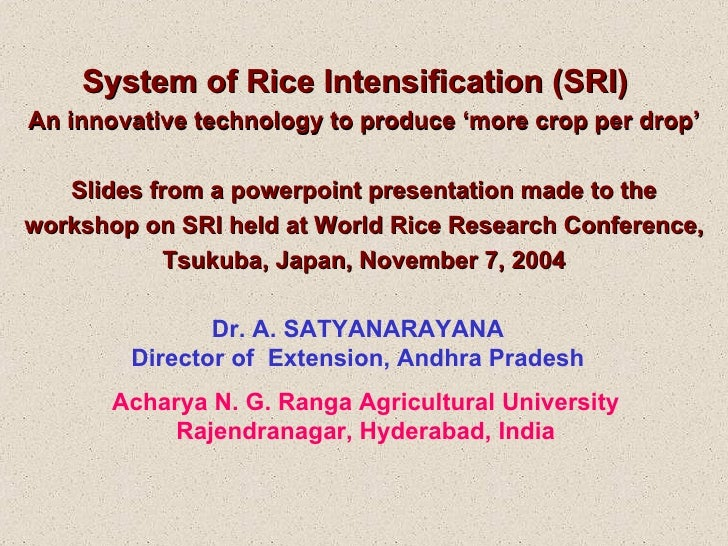 System of Rice Intensification (SRI)  An innovative technology to produce 'more crop per drop' Slides from a powerpoint pr...