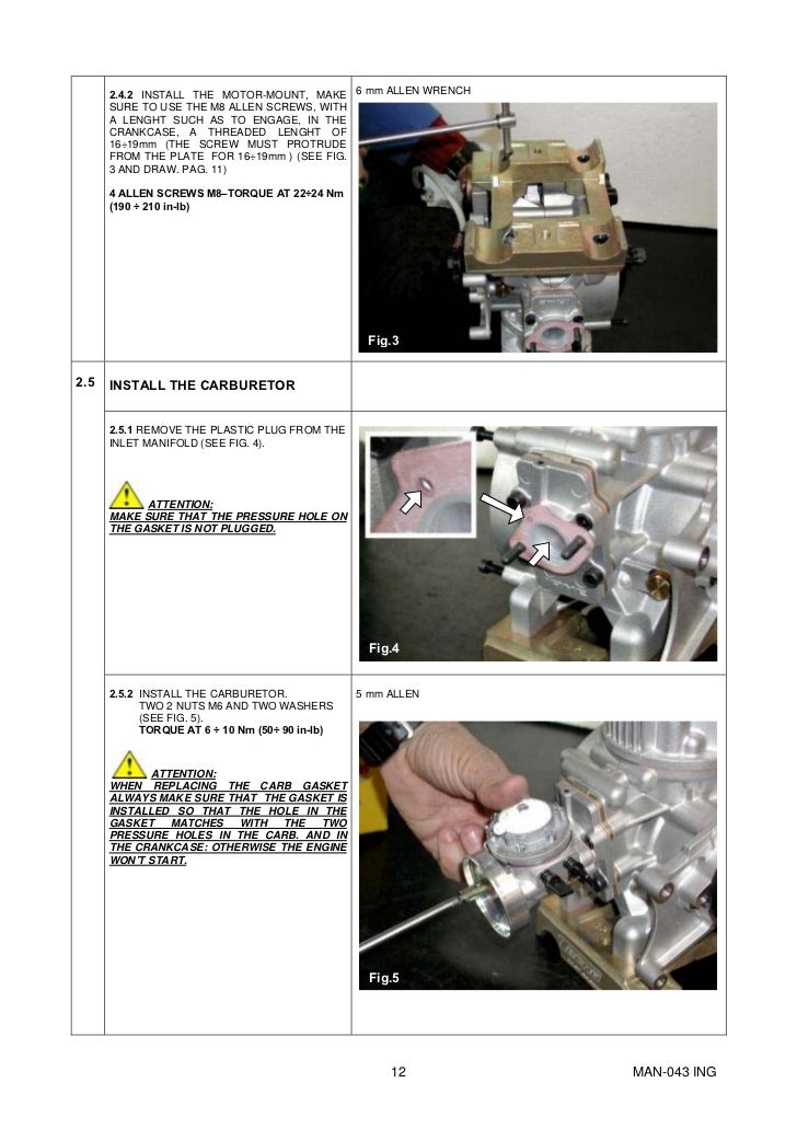 Manual Go-kart Parilla Engine X30 eng