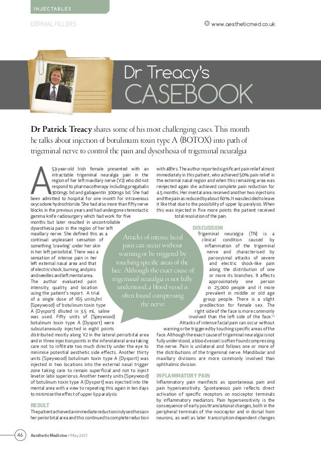 46 Aesthetic Medicine • May 2017 www.aestheticmed.co.uk Dr Patrick Treacy shares some of his most challenging cases. This ...
