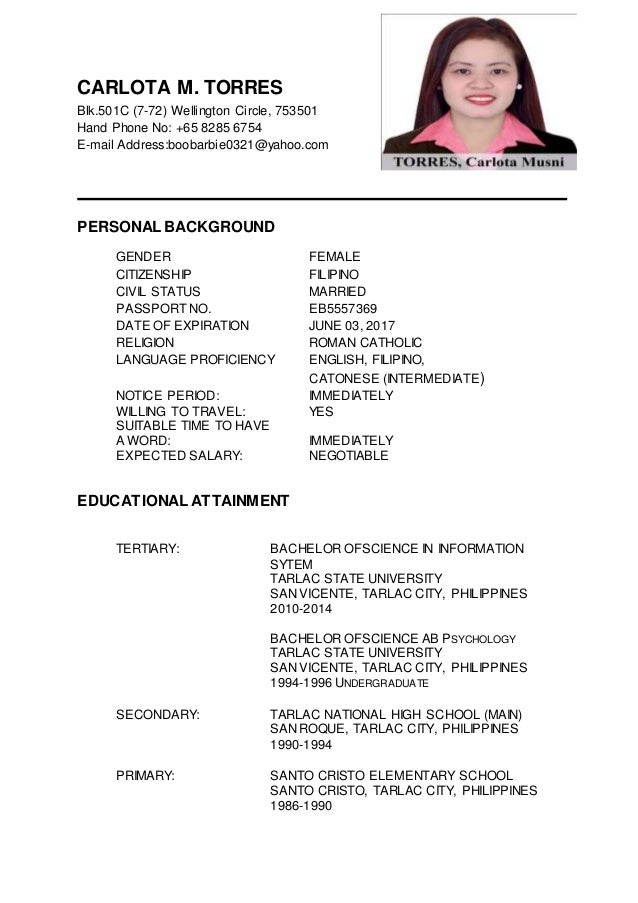 carlota m torres updated resume - Updated Resume
