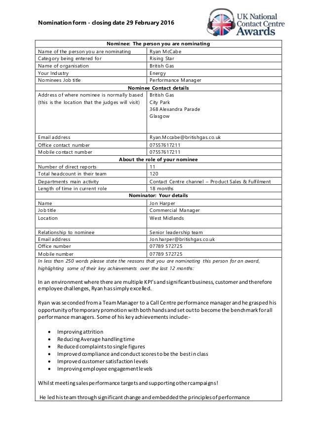 Nomination Form Uk Ncca Ryan Mccabe
