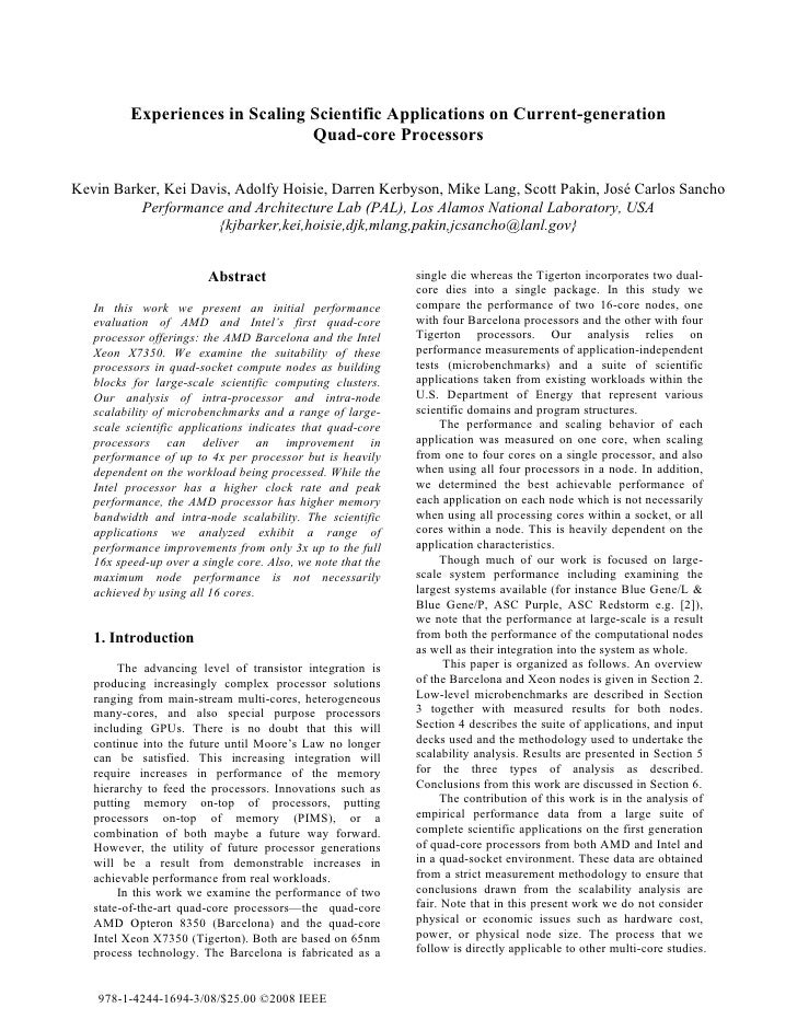Experiences in Scaling Scientific Applications on Current-generation                                  Quad-core Processors...