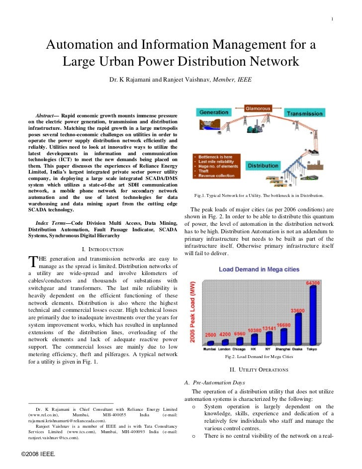 1          Automation and Information Management for a            Large Urban Power Distribution Network                  ...