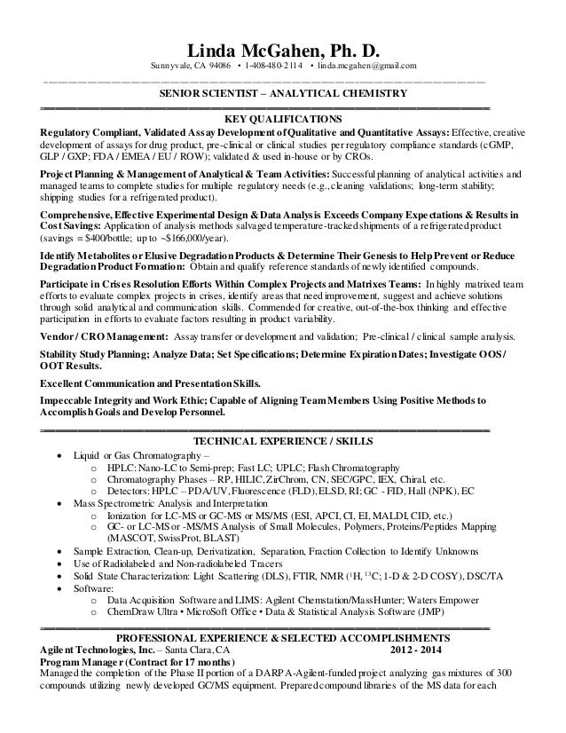 Chemist Resume Resume Format Download Pdf  Analytical Chemist Resume