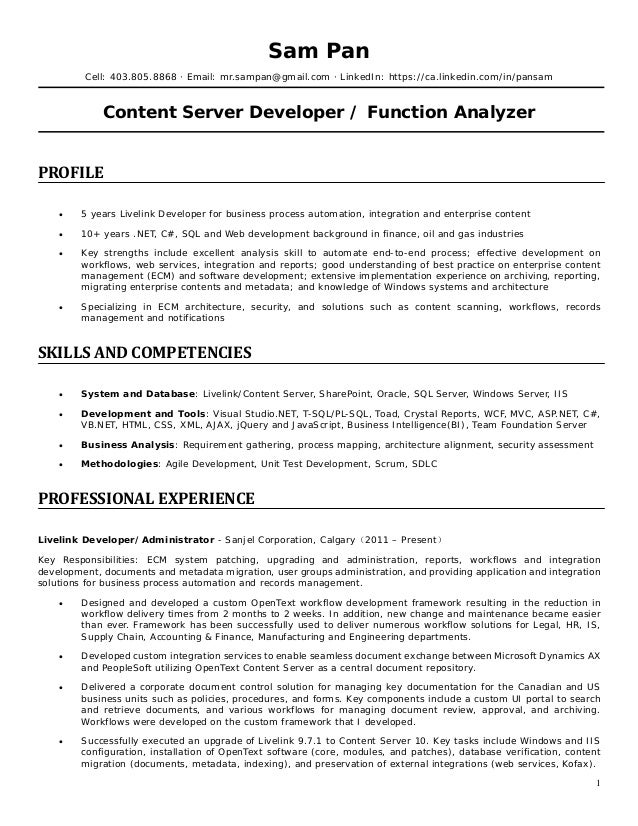 content developer resumes