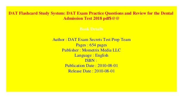 DAT Flashcard Study System: DAT Exam Practice Questions and