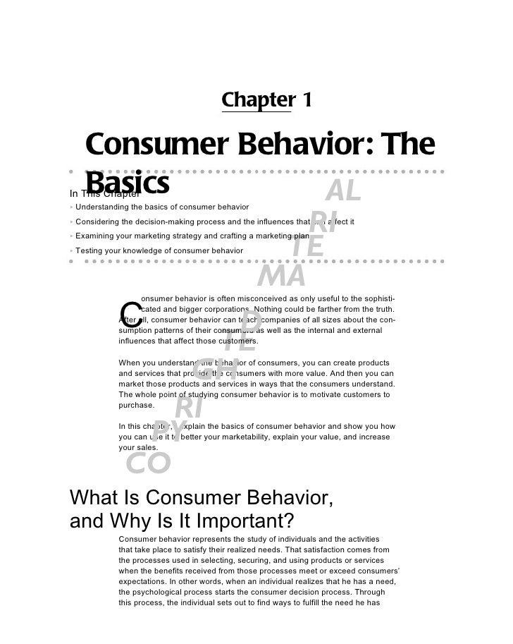 Chapter 1    Consumer Behavior: The    BasicsIn This Chapter      AL▶ Understanding the basics of consumer behavior       ...