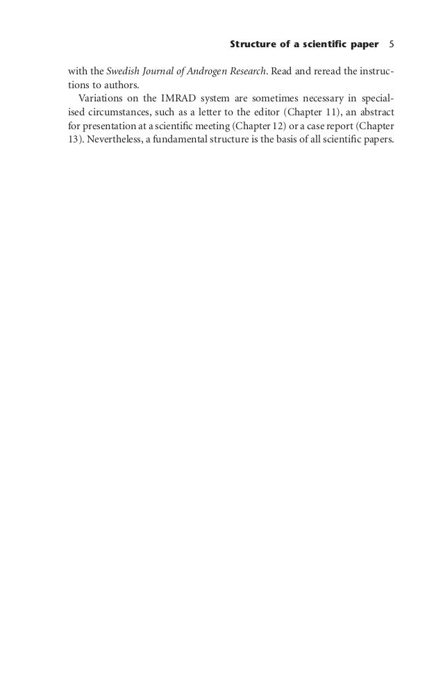 Structure of a scientific paper 5 with the Swedish Journal of Androgen Research. Read and reread the instruc- tions to auth...