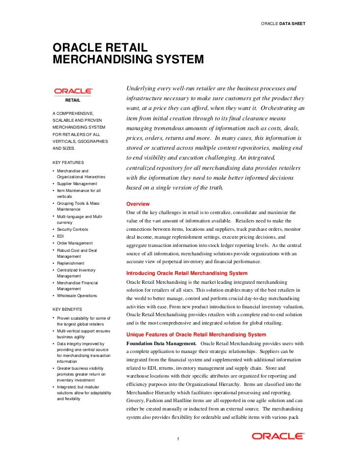 ORACLE DATA SHEETORACLE RETAILMERCHANDISING SYSTEM                                     Underlying every well-run retailer ...