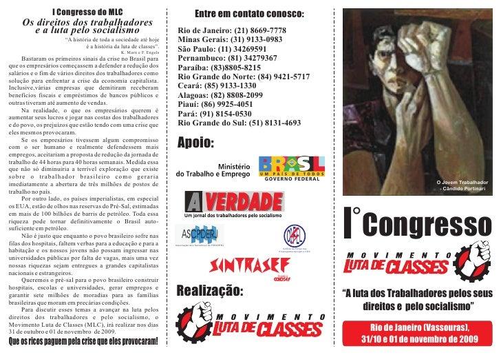 I Congresso do MLC                                               Entre em contato conosco:      Os direitos dos trabalhado...