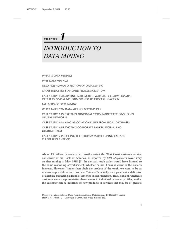 WY045-01   September 7, 2004     13:13            CHAPTER        1            INTRODUCTION TO            DATA MINING      ...