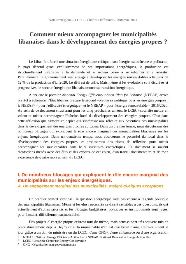 Note stratégique – LCEC – Charles Deffrennes – Automne 2014 Comment mieux accompagner les municipalités libanaises dans le...