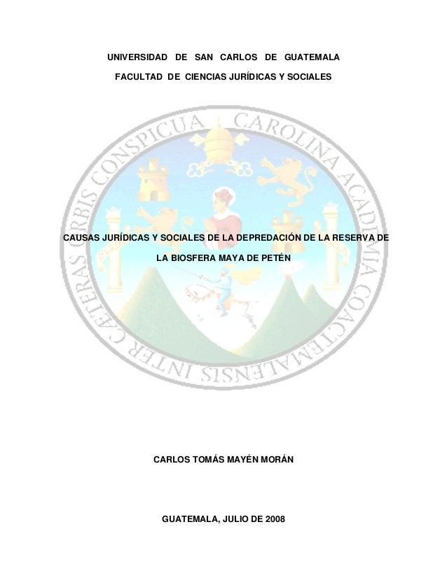 UNIVERSIDAD DE SAN CARLOS DE GUATEMALA         FACULTAD DE CIENCIAS JURÍDICAS Y SOCIALESCAUSAS JURÍDICAS Y SOCIALES DE LA ...