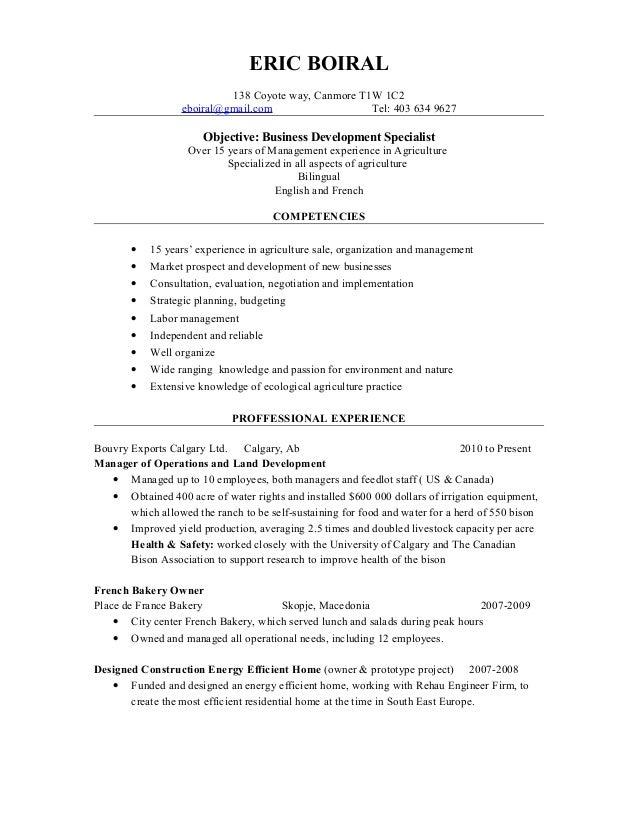 Cv Business Development Specialist