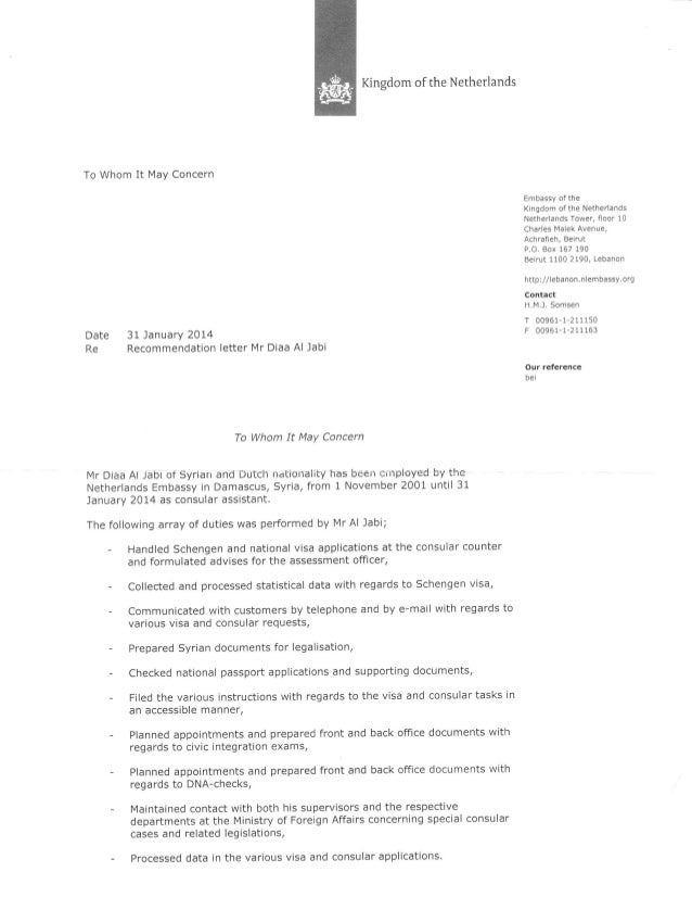 Recommendation letter kingdom of the netherlands to whom it may concern date re 31 january 2014 recommendation letter stopboris Images