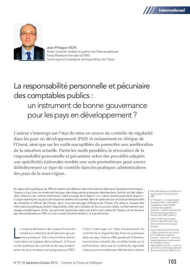 103N° 9/10 Septembre-Octobre 2015 / Gestion & Finances Publiques L'auteur s'interroge sur l'état de mise en œuvre du contr...