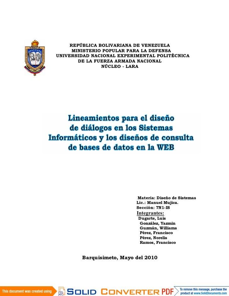 REPÚBLICA BOLIVARIANA DE VENEZUELA       MINISTERIO POPULAR PARA LA DEFENSA UNIVERSIDAD NACIONAL EXPERIMENTAL POLITÉCNICA ...