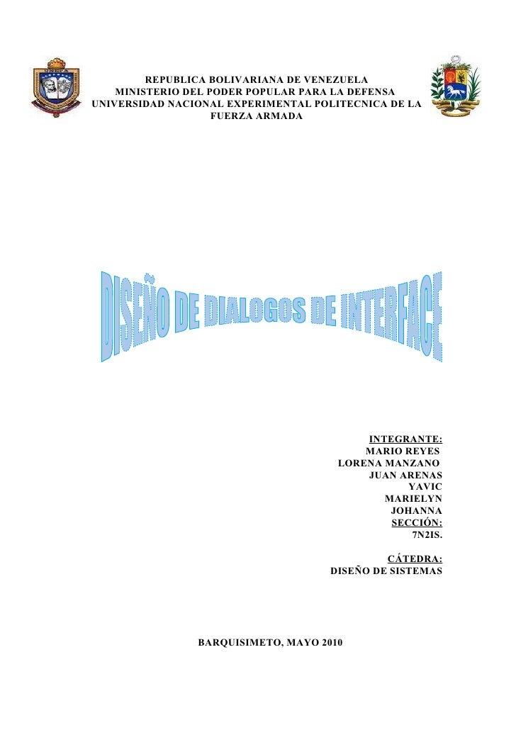 REPUBLICA BOLIVARIANA DE VENEZUELA     MINISTERIO DEL PODER POPULAR PARA LA DEFENSA UNIVERSIDAD NACIONAL EXPERIMENTAL POLI...