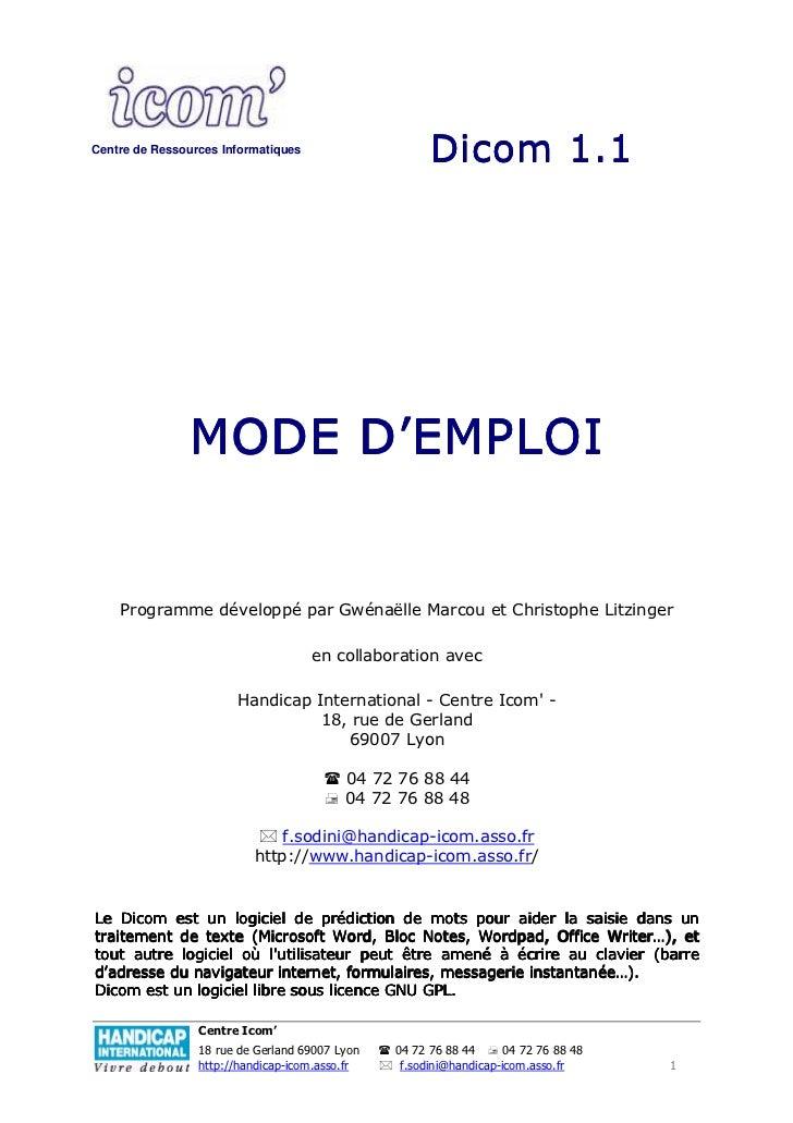 Centre de Ressources Informatiques                                                      Dicom 1.1               MODE D'EMP...